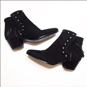 Sam Edelman Rudie Studded Fringe Bootie in Black